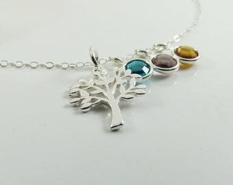 Family Tree of Life Necklace Personalized Necklace Child Birthstone Jewelry Grandma Mom Gift Idea Sterling Silver