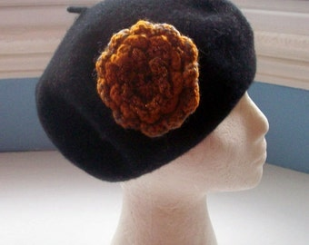 JULY SALE Beret, wool, black, embellished with a flower pin sparkly corsage hand knit copper colours  with bead