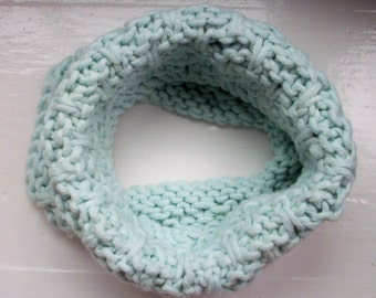 Knitted neck warmer, cosy cowl, warm collar, ice blue, soft textured snood scarf