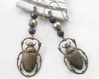 Scarab Earrings Boho Brass Healing Stones Purple Jade Pyrite Gemstone Beaded Wire Wrapped