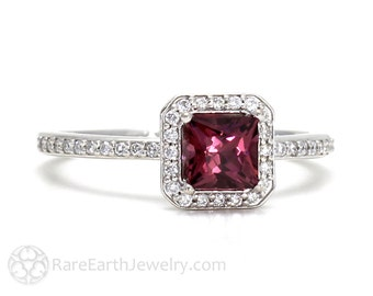 Garnet Engagement Ring Rhodolite Garnet Ring January Birthstone Ring Princess Diamond Halo