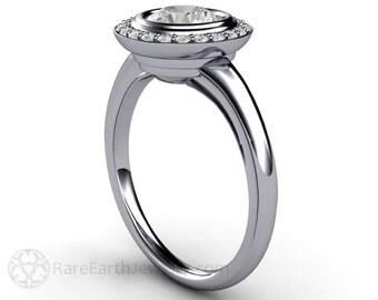 Art Deco Engagement Ring Forever Brilliant Moissanite Diamond Halo 14K 18K Gold or Platinum Unique Engagement Ring Handmade