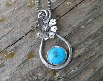 Bright Blue Turquoise Blossom Pendant