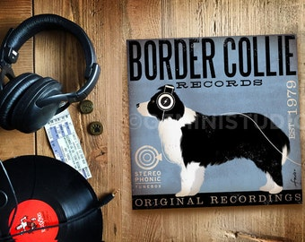 Border Collie Records dog graphic art on gallery wrapped canvas by by stephen fowler