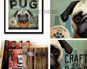 PUG dog beer brewing Company illustration graphic artwork giclee archival print by Stephen Fowler Pick A Size