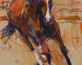Bay Horse Running - Original Abstract Acrylic Painting 11x14