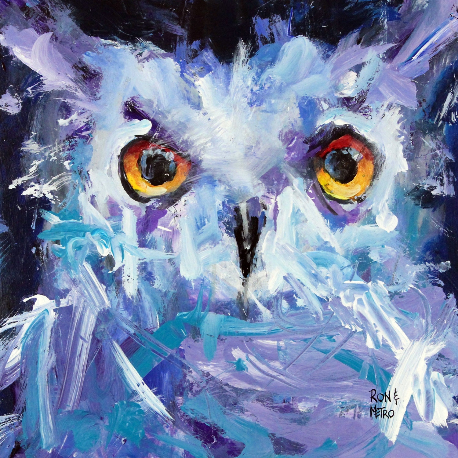 Night Owl Abstract Owl Painting Painted by Ron Krajewski