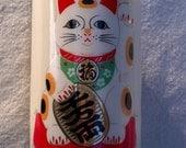 Maneki Neko vintage Japanese Sake or Tea Cup set of 6 Kawaii Cute, Green Tea and Kitty is Beckoning You
