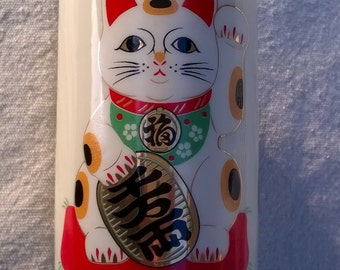 Maneki Neko vintage Japanese Sake or Tea Cup set of 6 Kawaii Cute, Green Tea and Kitty is Beckoning You