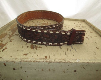 Western 70s Tony Lama Belt leather Cowboy belt Acorns and Oaks tooled belt Whipstitch brown leather belt vintage 70s Cowgirl belt  30 M