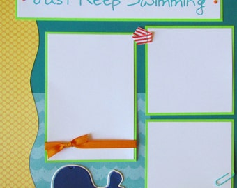 JUST KEEP SWIMMING 12x12 Premade Scrapbook Pages - pool -  beach - summer vacation -
