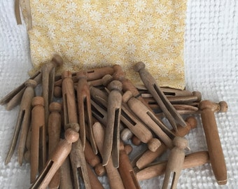 Vintage Wooden Clothes Pins- 36 of them in Cute Fabric Drawstring Bag