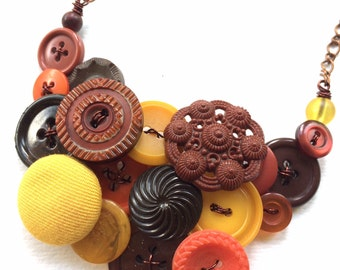 Autumn Necklace Button Jewelry Necklace with Rust, Pumpkin, and Mustard Colors