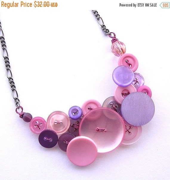 Winter sale Light Pink and Lilac Lavender Vintage Button Statement Necklace