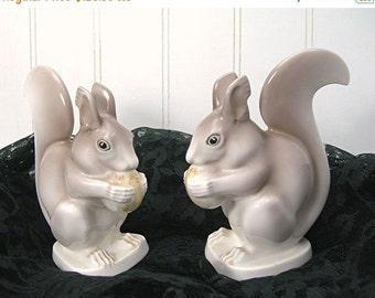 Noritake Gray Squirrels, Bone China Animal Figurines, Nippon Toki Kaisha Japan, Vintage Home Decor