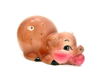 Ceramic Pig Canape Holder, Toothpicks, Ranchhouse Farm Decor, Barbeque Parties Dining, Vintage c1960s MidCentury Kitsch, Hors d'oeuvres