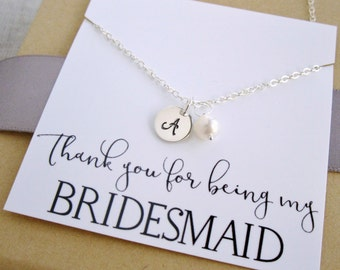 Personalized Bridesmaid necklace, sterling silver initial necklace, pearl necklace, freshwater pearl, bridesmaid gift with thank you card