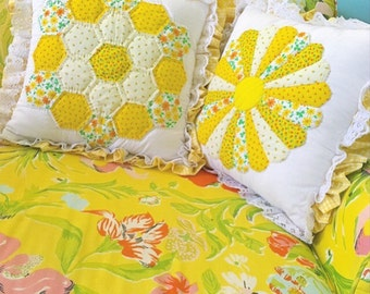 Pillow Talk... Two Vintage Quilted Sunny Yellow Pillow Covers Dresden Plate and Hexie Hexagon Handmade