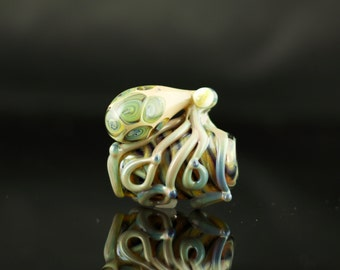 Octopus Dread Bead Hand Blown Full Color Glass in Artist Mix & English Ivy, Ready to Ship #206