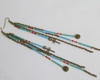 Boho Seed Bead Charm Earrings