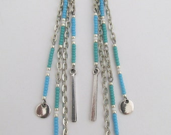 Chain Dangle Seed Bead Earrings