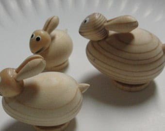 Unfinished Wooden Little Rabbits
