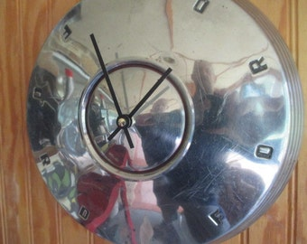 Vintage Ford Hubcap Wall Clock - Repurposed Home Decor - Classic Car