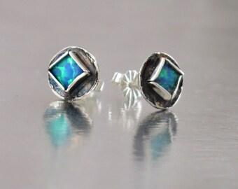 Stud Earrings, Opal Studs, Minimalist Earrings, Opal Sterling Studs, Blue Opal Studs, Square Opal, October Birthstone, Bridal Jewelry,