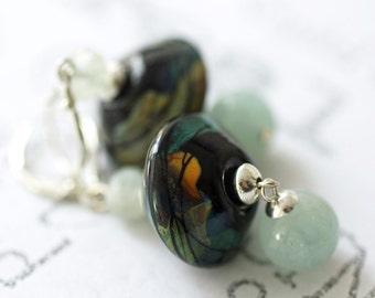 Aquamarine and Lampwork Glass Earrings, Blue Lampwork Handmade Earrings, March Birthstone Dangle Earrings