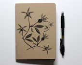Medium Letterpress Blank Notebook, Rose Hips Notebook, Small Journal, Printed Cover, Gifts For Writers, Doodle Book
