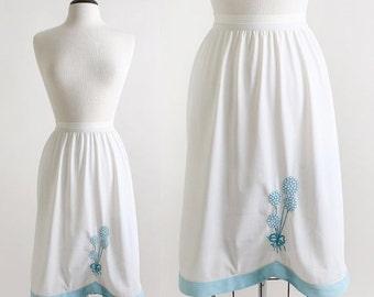 ON SALE Balloons Half Slip Vintage Sky Blue Embroidered Skirt