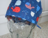 Tie Back Surgical Scrub Hat with Patriotic Flag Whales USA