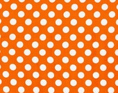 Sale Fabric, Spot on Polka Dot fabric, Quilt fabric, Cotton Fabric by the Yard, White and Orange fabric, Robert Kaufman, Choose your cut