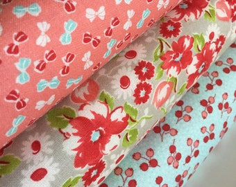 SALE Little Ruby by Bonnie and Camille for Moda fabrics, Small Print fabric, Quilting fabric, Bundle of 3 Fabrics, Choose The Cut