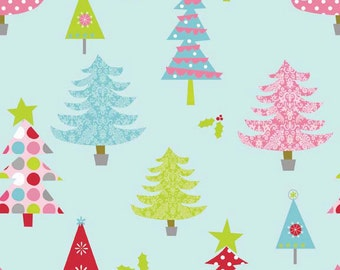 SALE fabric, Christmas Fabric, Christmas Tree Fabric by Riley Blake, Aqua fabric - Modern Tree in Blue, Choose the Cut