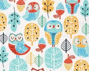 SALE fabric, Owl Fabric, Girl Fabric, Leaf fabric, Acorn Forest fabric bundle, Robert Kaufman, Trees in Park, You Choose the Cut