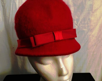 Vintage 1960s Mod Red Mohair Helmet Hat  with Bow