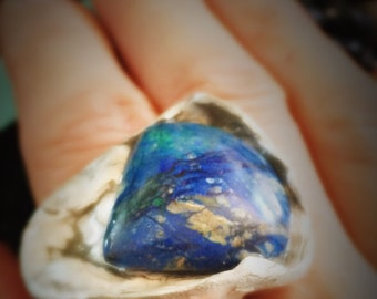Blue note ring size 10 in reclaimed fine silver with exquisite azurite