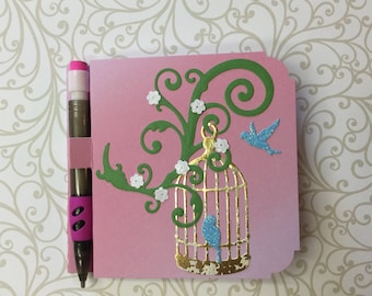 Birdcage Post It Note Notepad with Pencil