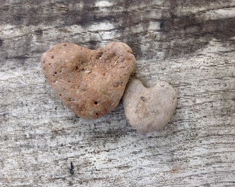 STONE HEARTS...7 natural undrilled beach stones, organic suppies, love rocks- rustic decor-heart gift