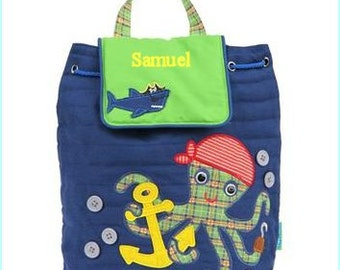 Personalized Pirate Octopus Backpack, Bag, Tote, Diaper, School, Toddler, Kids, Preschool, Knapsack, Bookbag, Overnight, Summer Camp,