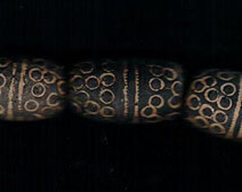 Vintage Handmade Mali Clay 32x20mm African Trade Beads Focal 5pcs