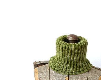 Cowl Scarf Wool Rib Knit Green Moss Green Cowl Winter Autumn Fall Holiday Gift