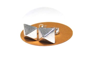 Sterling Silver Pyramid Stud Earrings, Ready to Ship