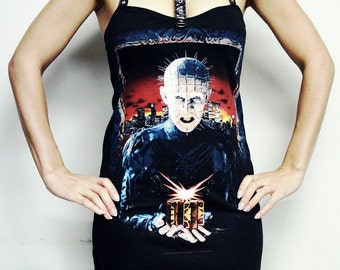 Hellraiser Pinhead Mini Dress horror clothing alternative apparel reconstructed altered band shirt