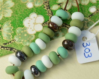 "Made To Order Green - MTO - Grass ""Kusa"" Little Rounds in Shades of Green, Brown and Icy White - Bead Set - Lampwork Beads - SRA - CPteam"