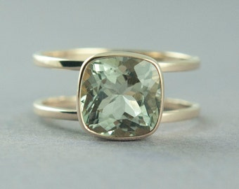 Gold Green Amethyst Ring, Prasiolite Ring, Cushion Cut Stone, 14K Yellow Gold Ring, Unique Ring, Made to Order, Free Courier Shipping