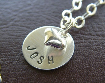 """Custom Necklace - Personalized Sterling Silver Hand Stamped Jewelry - 1/2"""" Disc with  Optional Petite Puff Heart Charm, Birthstone or Pearl"""