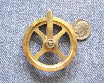 Regulator Clock Pulley Wheel Part Antique Brass Industrial Mechanical Gear Repurpose Refashion Art Jewelry Assemblage Steampunk Finding
