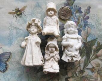 German Frozen Charlotte Doll Lot The Garden Fairy Girls Antique Bisque Art Assemblage Shrine Home Decor Garden Plant Embellishments